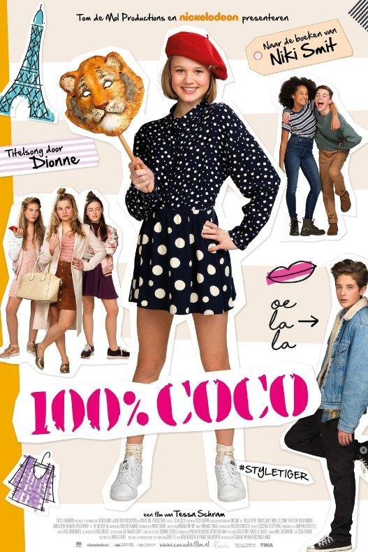 100% Coco. Een meisje met modieuze kleding houdt een tijgermasker vast. Daar omheen uitgeknipte plaatjes van onder meer de Eiffeltoren en andere jongens en meisjes.