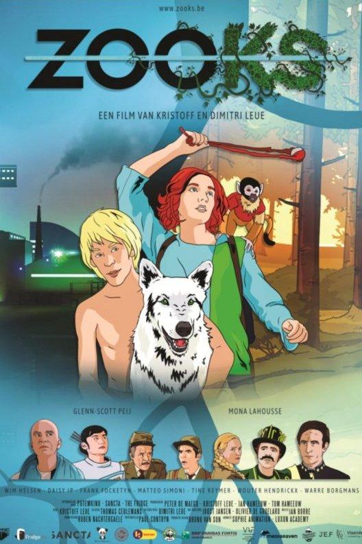 ZOOks. Een jongen en een meisje met een wolf voor hen staan op het midden van de poster. Het meisje heeft een aapje op haar schouder.