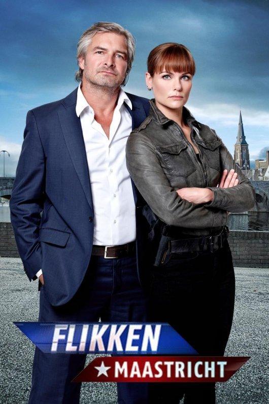 Flikken Maastricht. Een nieuw seizoen vanaf 2 maart 2018. Floris en Eva staan bij elkaar met op de achtergrond de skyline van Maastricht.