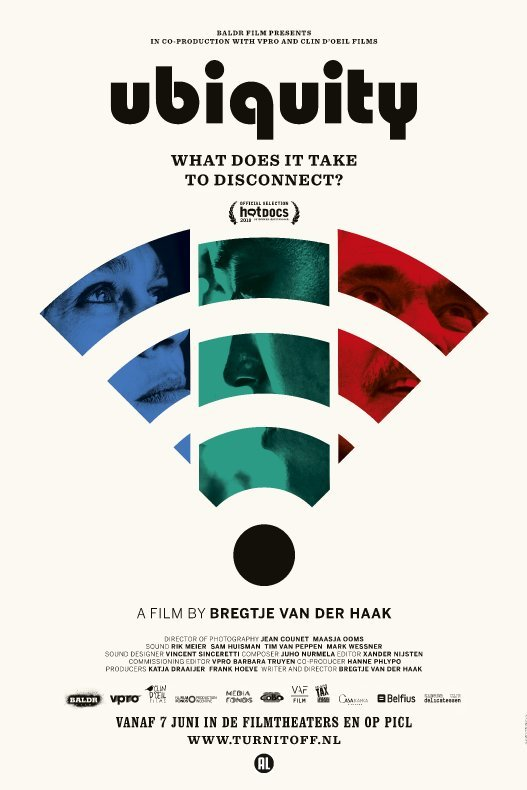 Ubiquity. What does it take to disconnect. A film by Bregtje van der Haak. De contouren van een WiFi-icoon zijn gevuld met de gezichten van twee vrouwen en een man.
