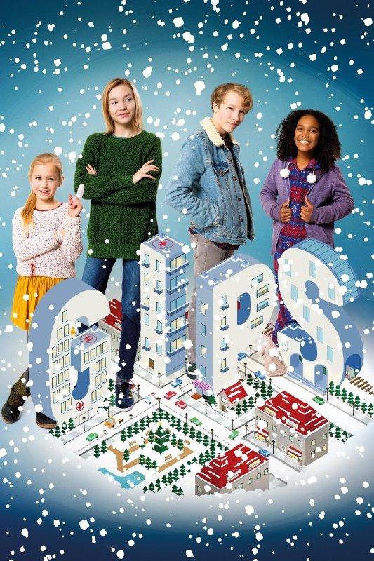 Gips. Twee meisje en een jongen staan achter grote letters G. I. P. S.