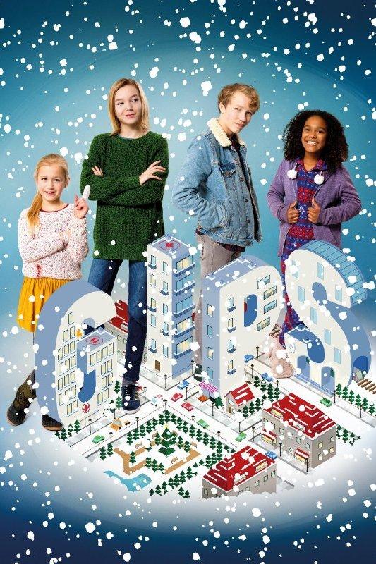 Gips. Drie meisjes en een jongen staan achter de letters G. I. P. S.