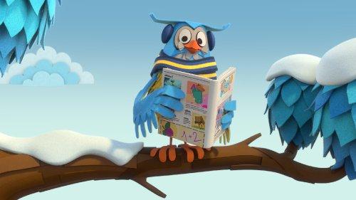 Meneer de Uil zit op een tak in de sneeuw en leest een boek.
