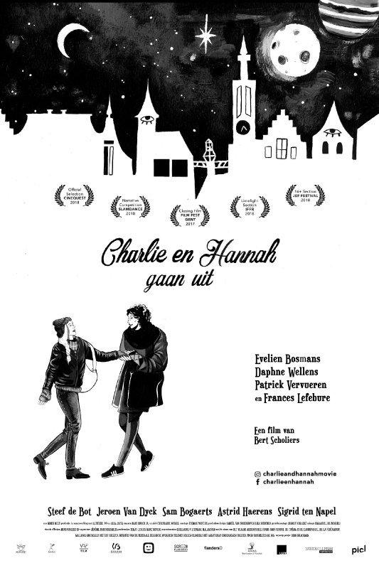 Charlie en Hannah gaan uit. Twee getekende vrouwen onder een donkere sterrenhemel.