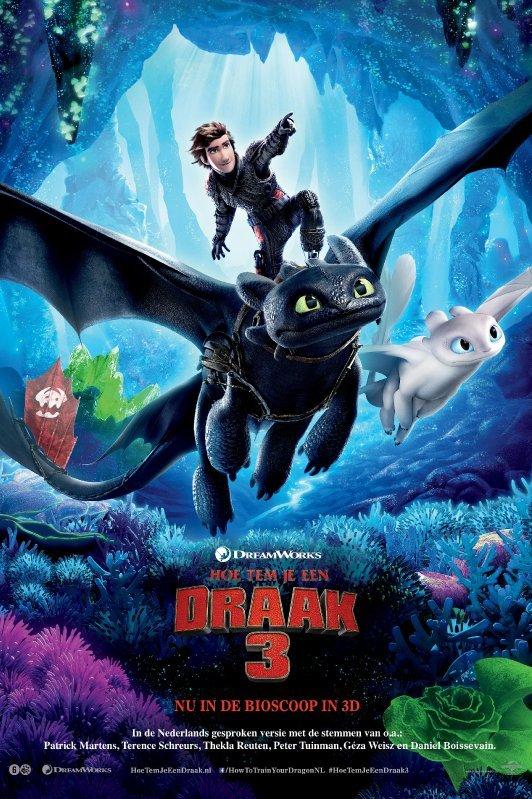 How To Train Your Dragon 3.  Een zwarte draak, met een jongen op zijn rug, vliegt naast een witte draak.