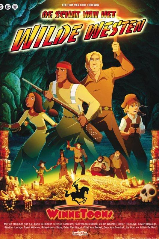 Winnetoons de schat van het Wilde Westen. Een blonde man met fakkel en een indiaan met een geweer in een grot. Achter hen een jongen met een pet en een boek in zijn hand en een indianenmeisje.