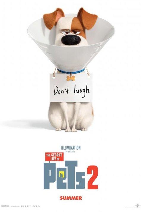 The Secret Life Of Pets 2. Een hond met een hondenkraag draagt een bordje om zijn nek waarop staat: Don't Laugh.