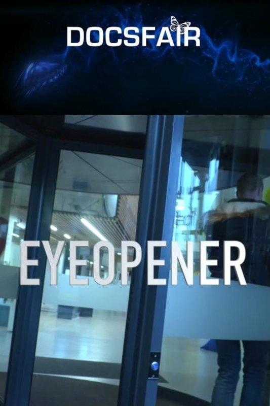 Eyeopener. Docsfair logo met een vlinder boven de letter i. Een jongen loopt door een draaideur.