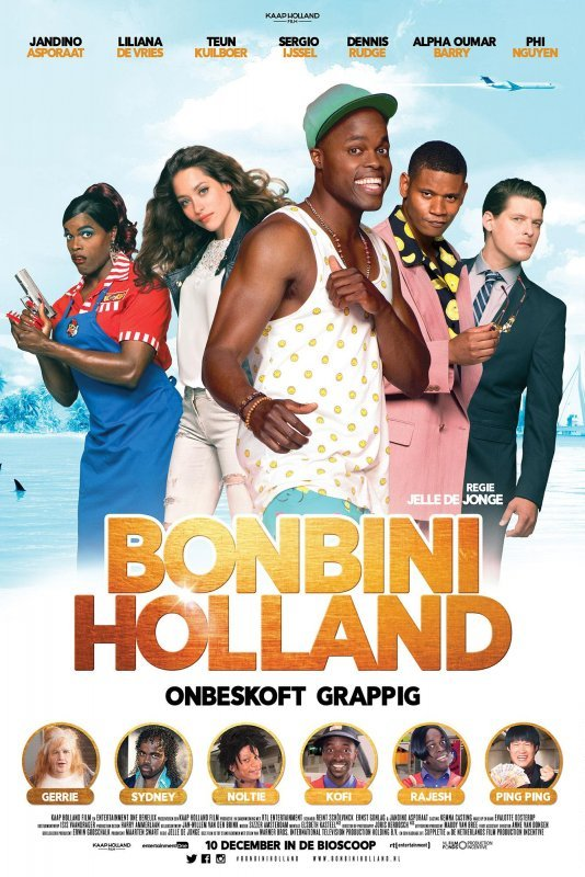 Twee vrouwen en drie mannen staan achter elkaar. De voorste man draagt een een groen petje en een wit hemdje. Daaronder in goudgele letters de titel van de film: BONBINI HOLLAND - Onbeskoft grappig.