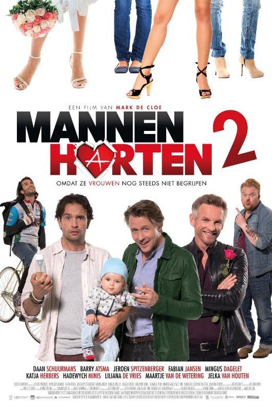 Een viertal vrouwenbenen met daaronder de titel van de film: Mannenharten 2. Een film van Marc de Cloe. Onderschrift: Omdat ze vrouwen nog steeds niet begrijpen. Een man op een fiets kijkt omhoog. Drie mannen en een baby op de voorgrond en daarachter een man die omhoog wijst.
