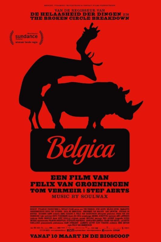 Belgica een film van Felix van Groeningen, Tom Vermeir, Stef Aerts. Music by Soulwax. Op een rode achtergrond het silhouet van een neushoorn die beklommen wordt door een damhert.