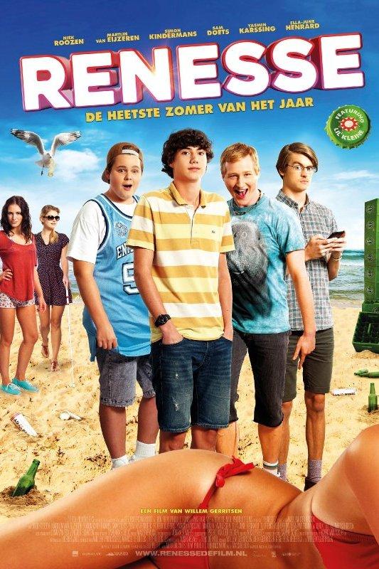 Renesse. De heetste zomer van het jaar. Vier sullige jongens staan in zomerkleding op een strand. Voor hen een vrouwenlichaam in rode bikini. Verderop een toren van opgestapelde bierkratten en twee mooie meisjes waarvan een met een taststok.