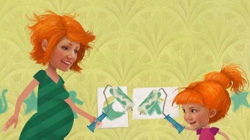 Knofje en haar zwangere moeder schilderen figuurtjes op de muur.