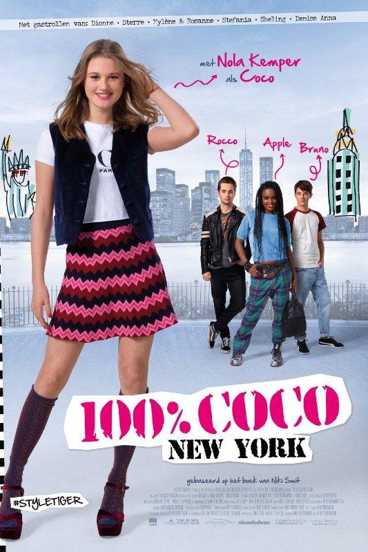 100% Coco New York. Een meisje in hippe outfit staat voor een getekende skyline van New York.