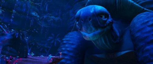 Ainbo, een meisje met donker haar, staat op een rots tegenover een gigantisch reuzenschildpad.