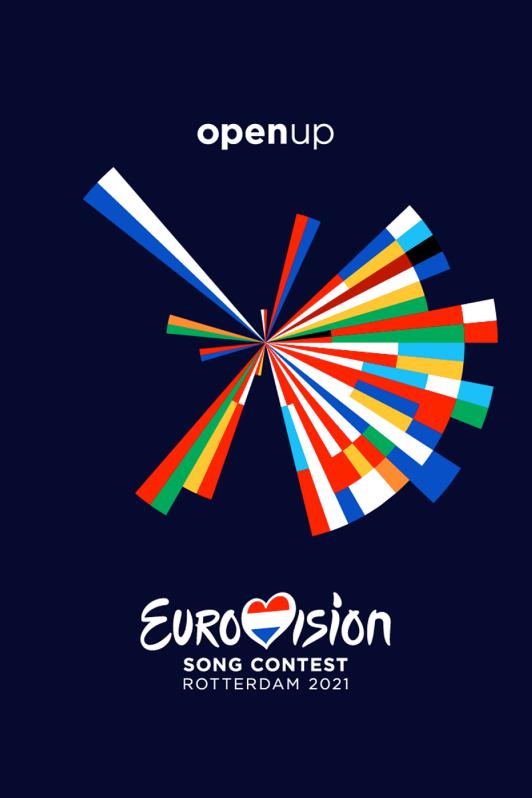 Open Up: Eurovision Song Contest Rotterdam 2021. Het vrolijk gekleurde logo op een donkerblauwe achtergrond.