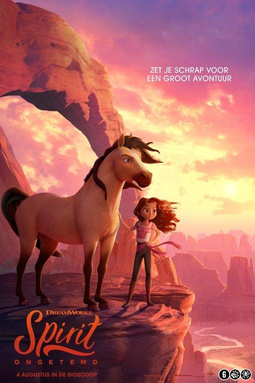 Spirit Ongetemd. Een meisje staat naast een groot paard op een rots. Met de tekst: Zet je schrap voor een groot avontuur.