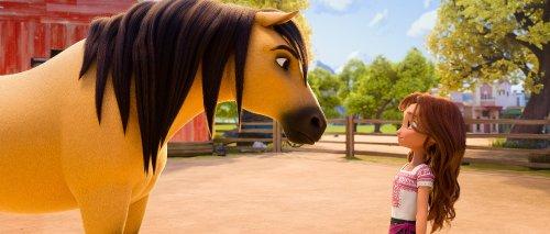Een groot, lichtgekleurd paard met donkere manen en een meisje staan tegenover elkaar en kijken elkaar aan.